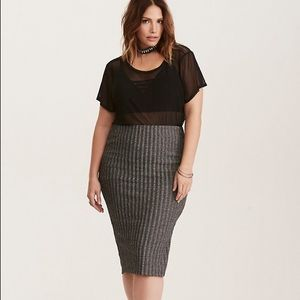 Torrid Glitter Ribbed Pencil Skirt  3 3X Stretch